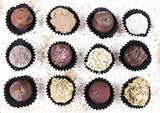 Handmade vegan chocolate truffle selection.