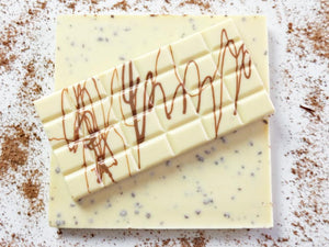 Sugar free cappuccino flavour white chocolate bar.