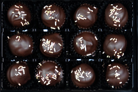 box of 12 vegan cherry and marzipan truffles
