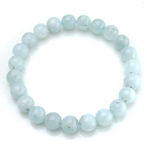 BEADNOVA AAA Grade 6mm Aquamarine Gemstone Bracelet Semi Precious Gemstone Birthstone Round Beads Stretch Bracelet 7""