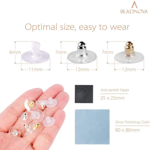 BEADNOVA Earring Backs Replacements for Droopy Ears Bullet Clutch with Pad Disc Plastic Earring Backings Pierced Earring Back for Posts Secure Locking Earring Backs for Heavy Studs (210 Pcs)