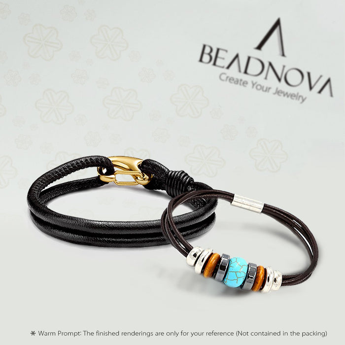 BEADNOVA Genuine Round Leather Cord Black Leather Strips For Jewelry Making Bracelet Necklace Beading (1.5mm,11 Yards)