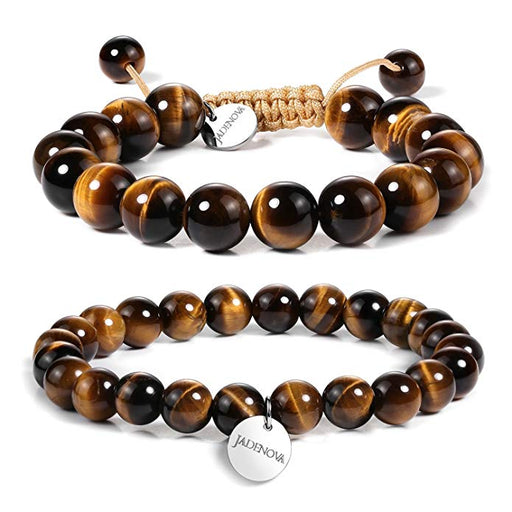 JADENOVA 8/10mm Natural Yellow Tiger Eye Gemstone Bracelet Elastic Stretch Yoga Beaded Bracelet Bangle Healing Crystal Bracelet Couples Gifts for Men Women (2pcs Bracelet Set)