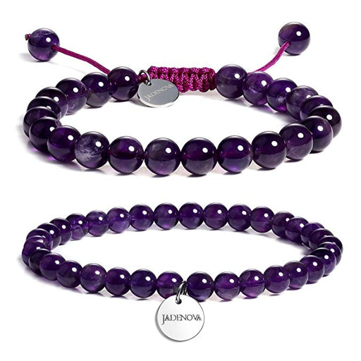 JADENOVA 6/8mm Natural Amethyst Gemstone Bracelet Elastic Stretch Yoga Beaded Bracelet Bangle Healing Crystal Bracelet Couples Gifts for Men Women (2pcs Bracelet Set)
