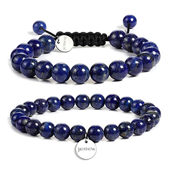 JADENOVA 8/10mm Natural Lapis Lazuli Gemstone Bracelet Elastic Stretch Yoga Beaded Bracelet Bangle Healing Crystal Bracelet Couples Gifts for Men Women (2pcs Bracelet Set)