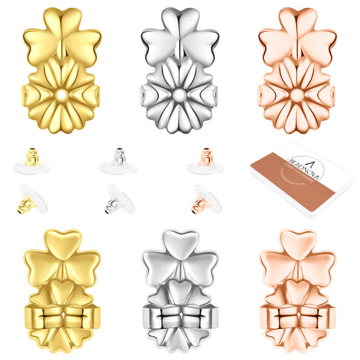 BEADNOVA Magic Earring Lifter Earring Back for Droopy Earring Bullet Clutch with Pad for Heavy Earring (Clover Style, 3 Colors Mix - Gold Plated, Silver, Rose Gold, 12pcs/6pairs)