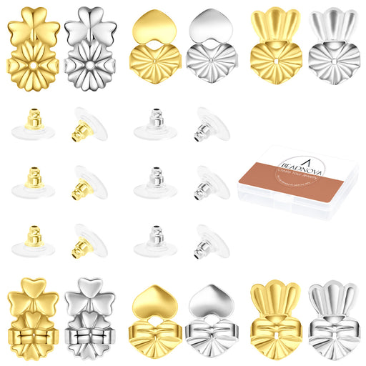 BEADNOVA Magic Earring Lifter Earring Back for Droopy Earring Bullet Clutch with Pad for Heavy Earring (Mix Styles, 2 Colors - Gold Plated, Silver, 24pcs/12pairs)