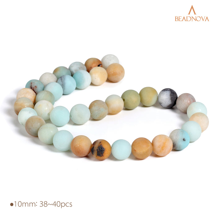 BEADNOVA 10mm Natural Matte Amazonite Gemstone Round Loose Beads for Jewelry Making (38-40pcs)