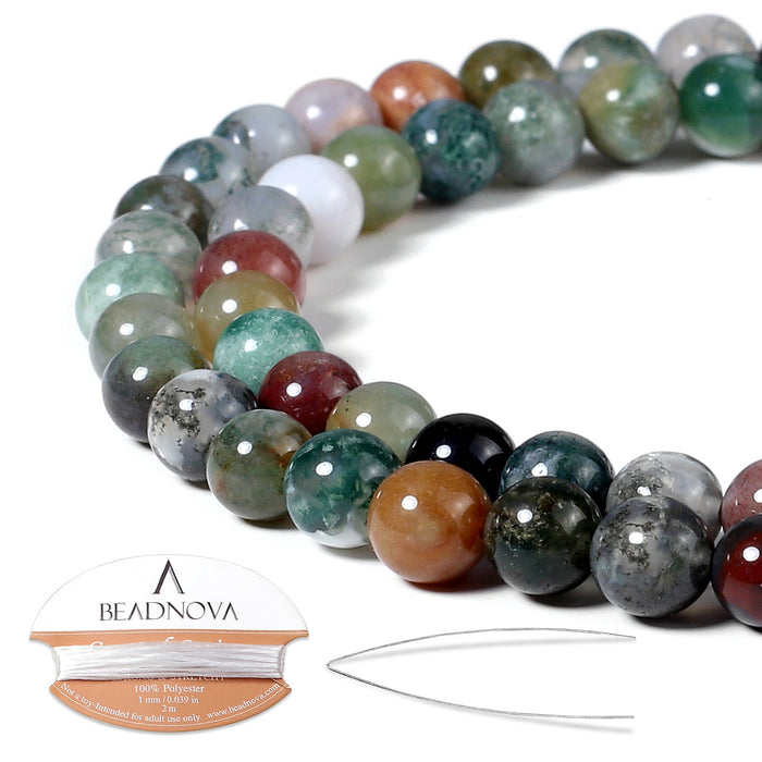 BEADNOVA 6mm Natural Indian Agate Gemstone Round Loose Beads for Jewelry Making (63-65pcs)