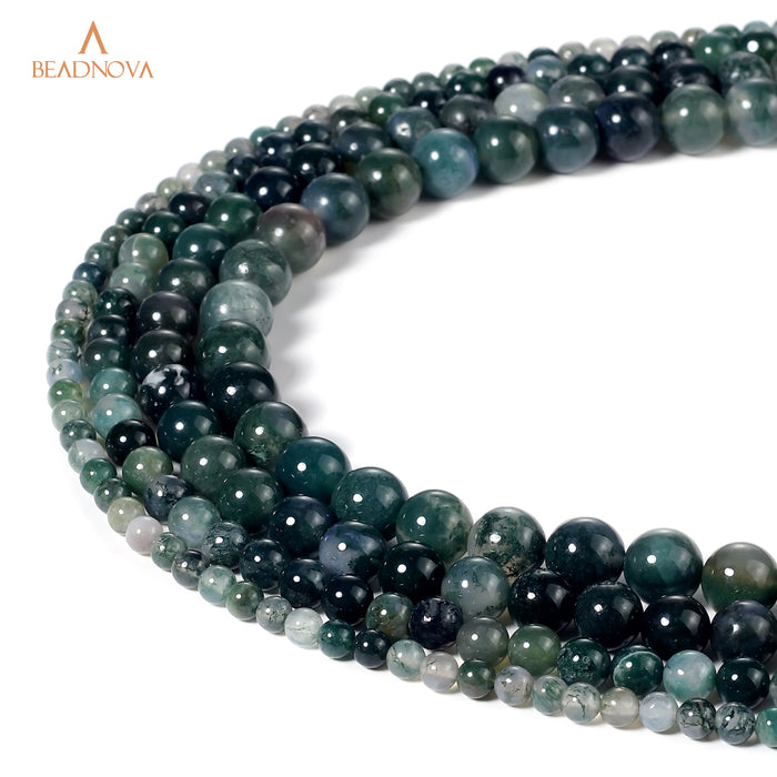 BEADNOVA 4mm Natural Moss Agate Gemstone Round Loose Beads for Jewelry Making (94-96pcs)