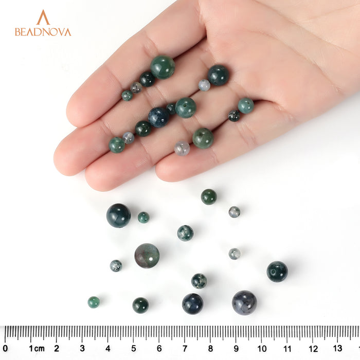 BEADNOVA 8mm Natural Moss Agate Gemstone Round Loose Beads for Jewelry Making (45-48pcs)