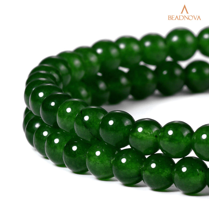 BEADNOVA 4mm Green Jade Gemstone Round Loose Beads for Jewelry Making (94-96pcs)