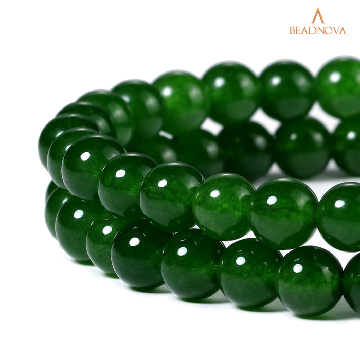 BEADNOVA 6mm Green Jade Gemstone Round Loose Beads for Jewelry Making (63-65pcs)