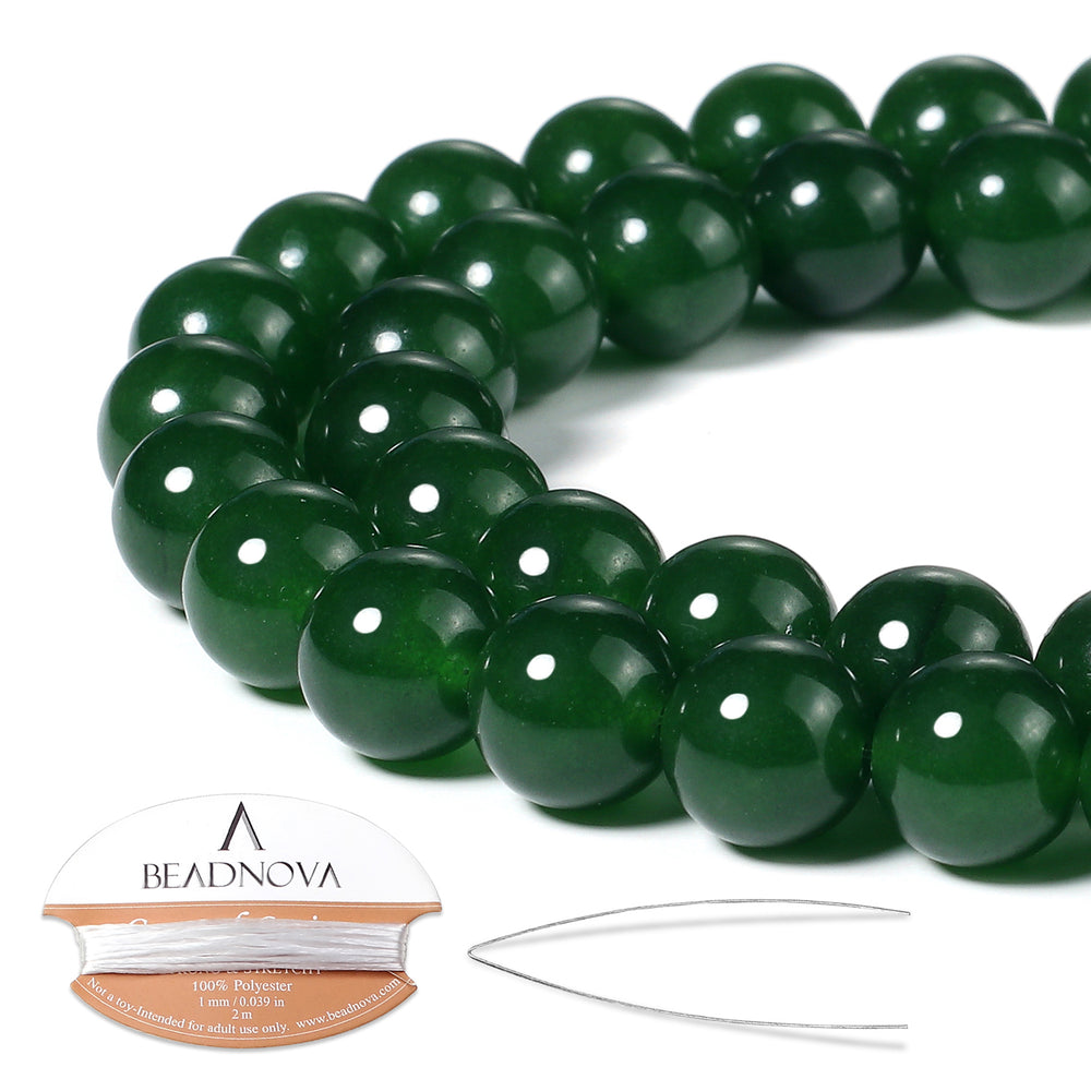 BEADNOVA 10mm Green Jade Gemstone Round Loose Beads for Jewelry Making (38-40pcs)
