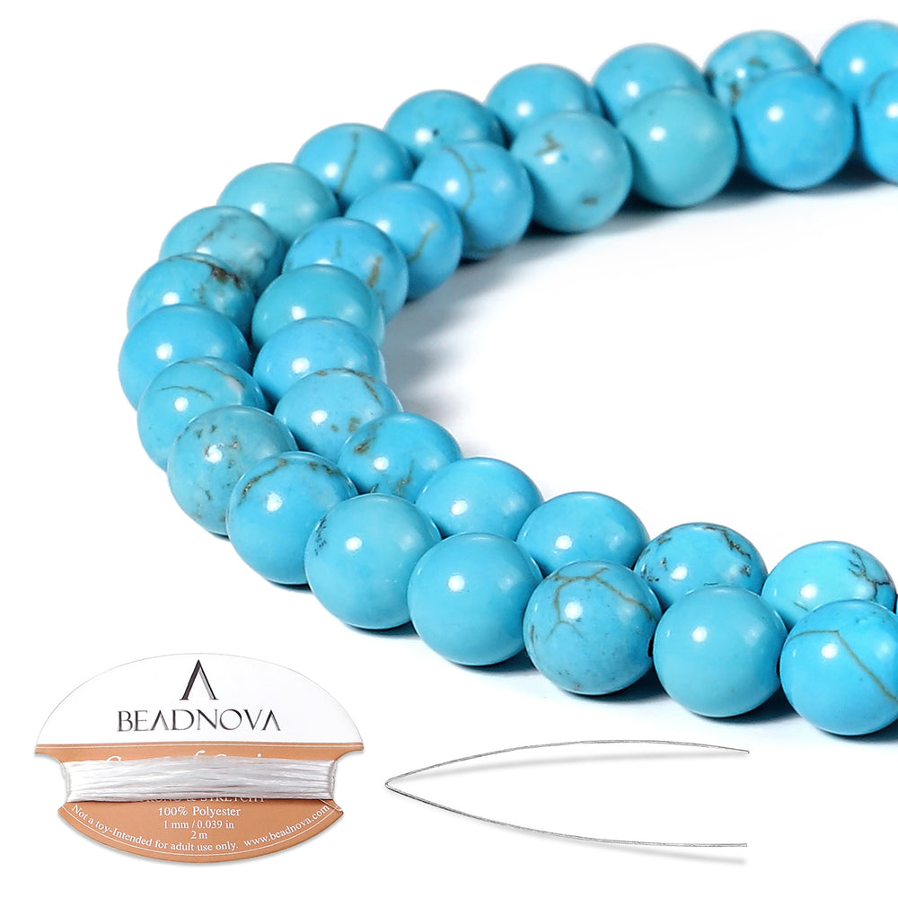 BEADNOVA 6mm Blue Turquoise Gemstone Round Loose Beads for Jewelry Making (63-65pcs)
