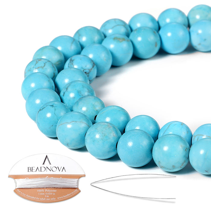 BEADNOVA 8mm Blue Turquoise Gemstone Round Loose Beads for Jewelry Making (45-48pcs)