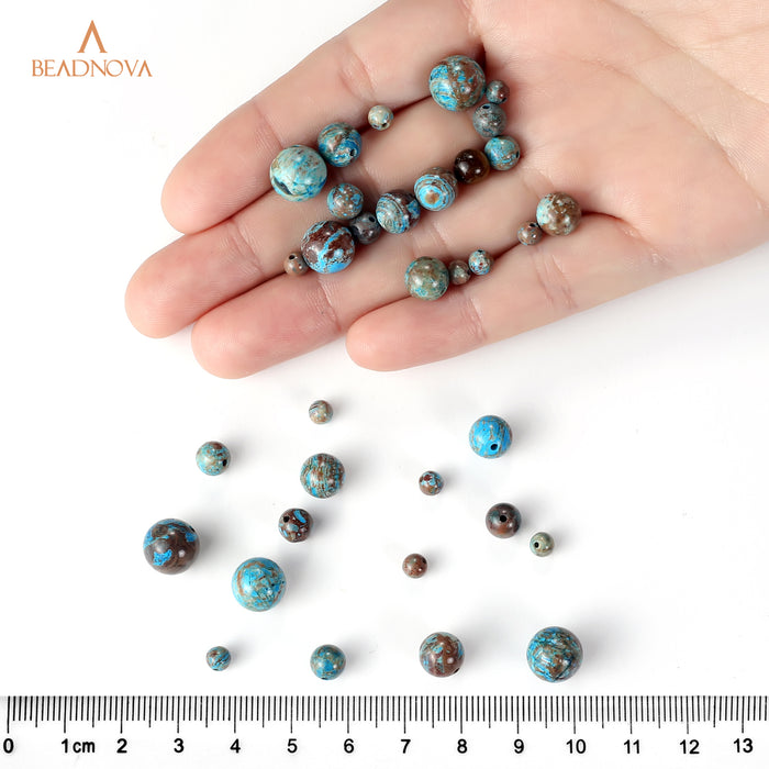 BEADNOVA 4mm Crazy Blue Lace Agate Gemstone Round Loose Beads for Jewelry Making (94-96pcs)