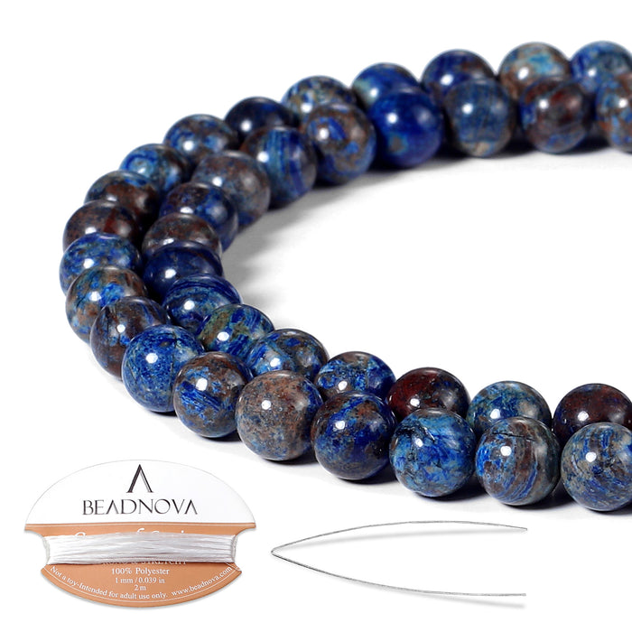 BEADNOVA 6mm Crazy Dark Blue Lace Agate Gemstone Round Loose Beads for Jewelry Making (63-65pcs)