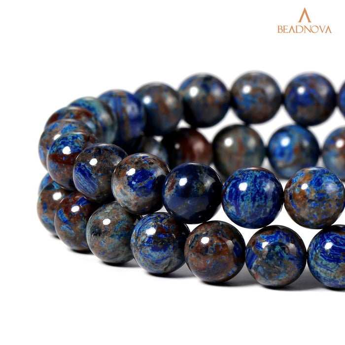 BEADNOVA 8mm Crazy Dark Blue Lace Agate Gemstone Round Loose Beads for Jewelry Making (45-48pcs)