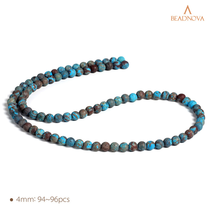 BEADNOVA 4mm Crazy Matte Blue Lace Agate Gemstone Round Loose Beads for Jewelry Making (94-96pcs)