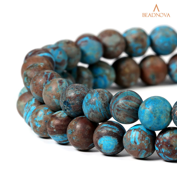 BEADNOVA 6mm Crazy Matte Blue Lace Agate Gemstone Round Loose Beads for Jewelry Making (63-65pcs)