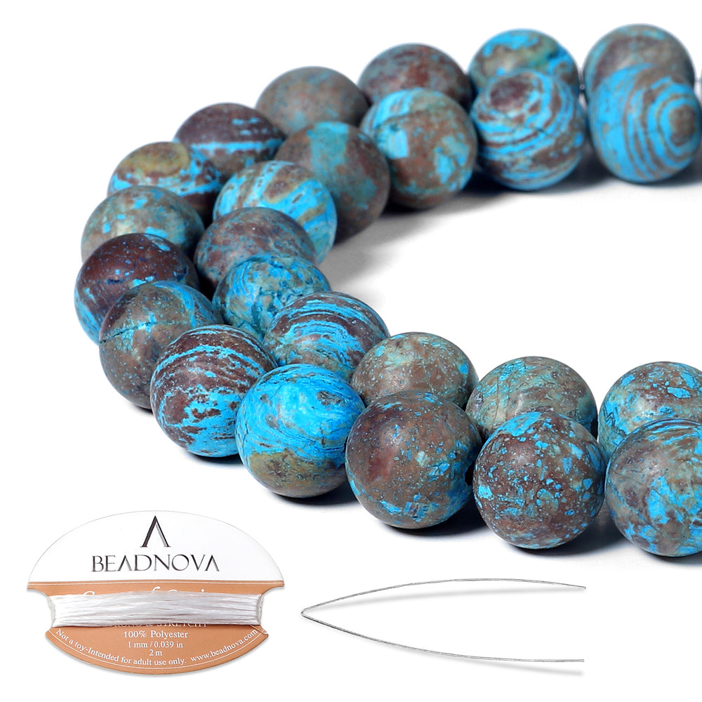 BEADNOVA 10mm Crazy Matte Blue Lace Agate Gemstone Round Loose Beads for Jewelry Making (38-40pcs)