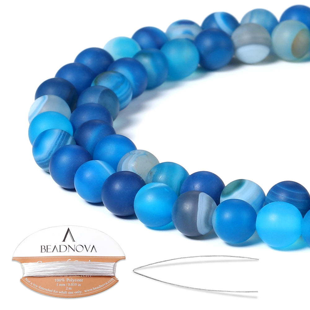 BEADNOVA 6mm Matte Blue Stripe Agate Gemstone Round Loose Beads for Jewelry Making (63-65pcs)