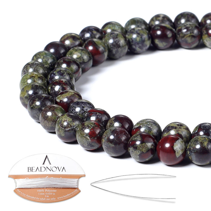 BEADNOVA 6mm Natural Dragon Blood Jasper Gemstone Round Loose Beads for Jewelry Making (63-65pcs)