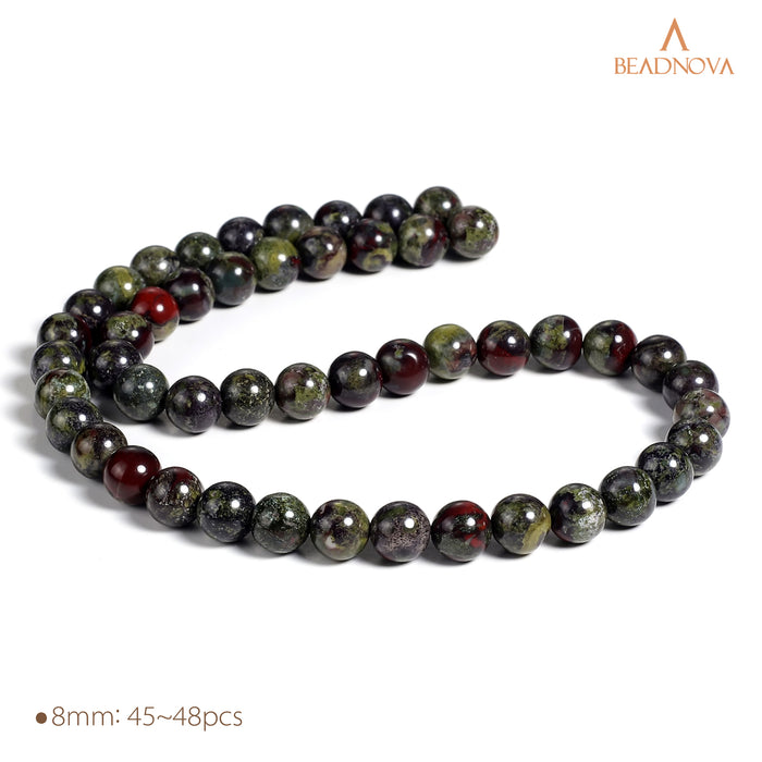 BEADNOVA 8mm Natural Dragon Blood Jasper Gemstone Round Loose Beads for Jewelry Making (45-48pcs)