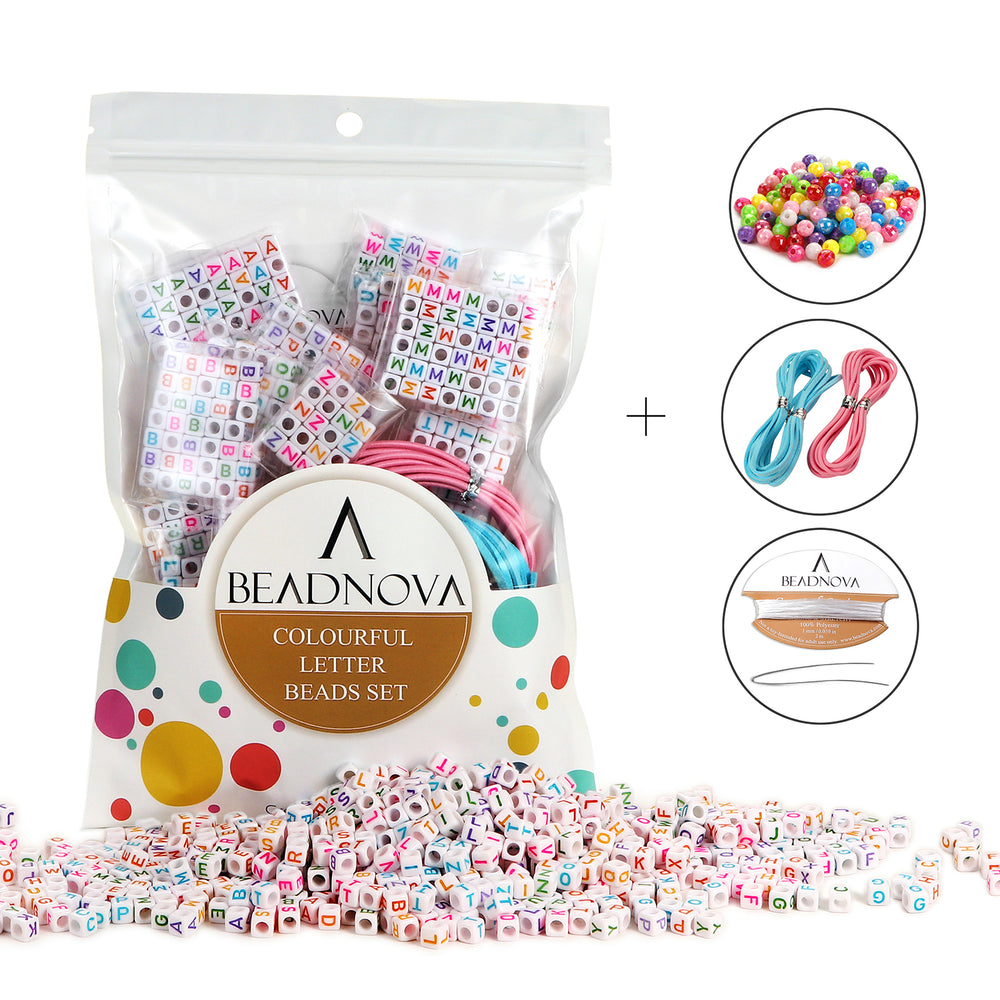 "BEADNOVA 800pcs White Acrylic Alphabet Letter Beads With Colorful Letters Alphabet ""A-Z"" Cube Beads For Kids Jewelry Making with Jewelry Cords and 120pcs AB Colorful Beads Included (6mm)"
