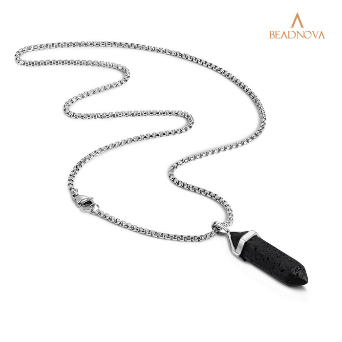 BEADNOVA Black Lava Rock Stone Necklace with Stainless Steel Chain 18 inches
