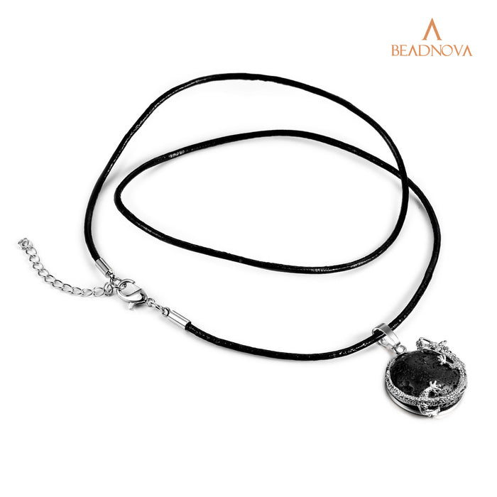 BEADNOVA Dragon Wrapped Oblate Black Lava Rock Stone Gemstone Necklace with 20 inches Stainless Steel Chain & Leather Necklace Chain