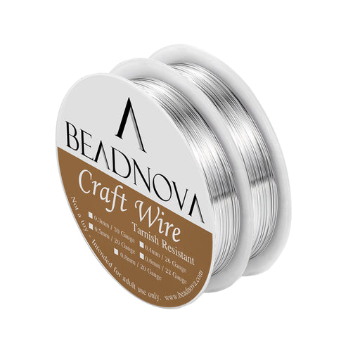 BEADNOVA Bare Copper Wire Tarnish Resistant Jewelry Making Wire (Silver Plated, 26gauge)