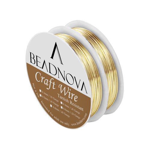 BEADNOVA Bare Copper Wire Tarnish Resistant Jewelry Making Wire (Gold Plated, 26gauge)