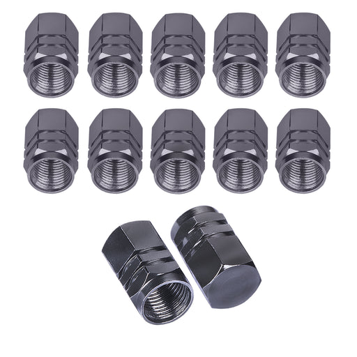 BEADNOVA Valve stem Caps Aluminum Chrome Caps for Tires Valve Caps (12pcs Pack,Gun Gray)