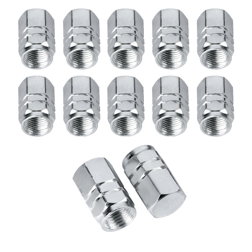 BEADNOVA Valve stem Caps Aluminum Chrome Caps for Tires Valve Caps (12pcs Pack,Silver)