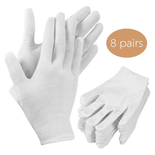 Beadnova Cotton White Gloves for Jewelry handling and Inspection (8 pairs)