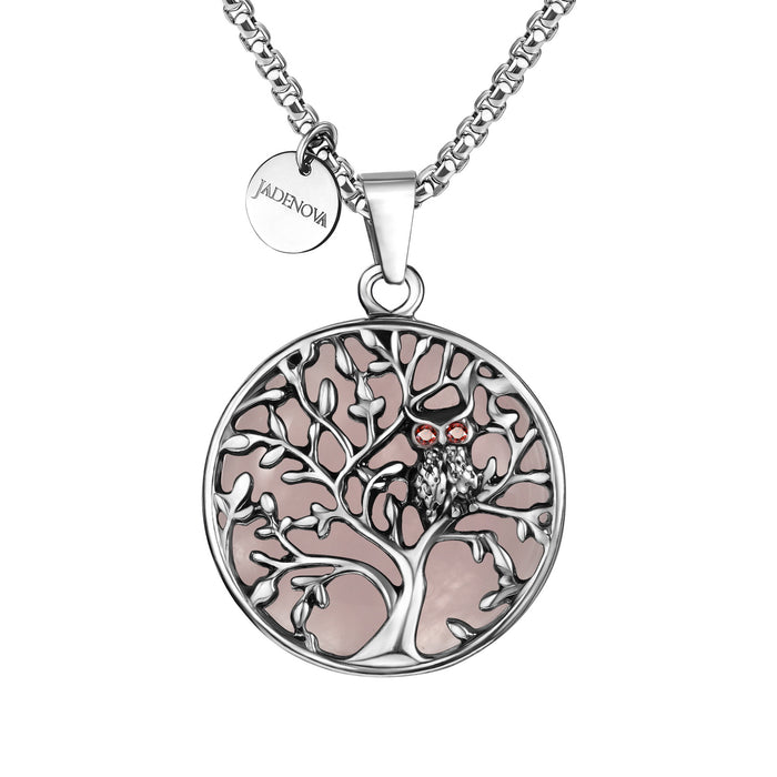 "JADENOVA Owl Family Tree Necklace Tree of Life Gemstone Pendant Owl Necklace 24"" Stainless Steel Chain"