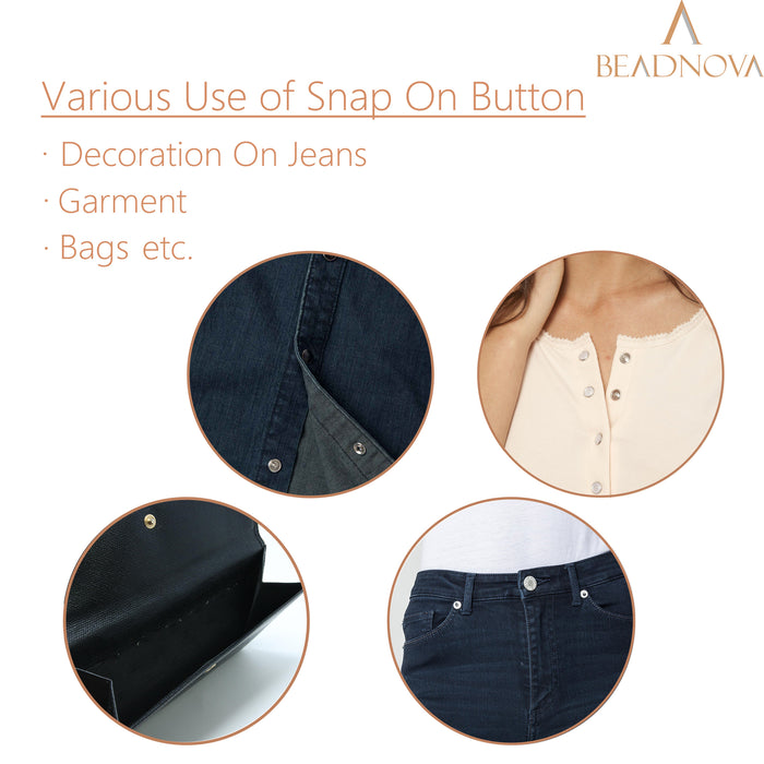 BEADNOVA Sew on Snaps MetalPress Buttons Snap Fasteners for Clothing (100  Sets, 2 Colors)