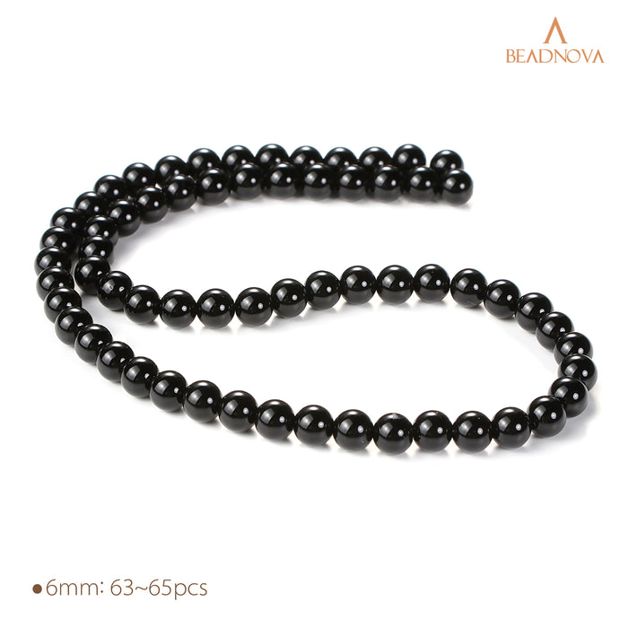 BEADNOVA 6mm Black Onyx Gemstone Round Loose Beads for Jewelry Making (63-65pcs)