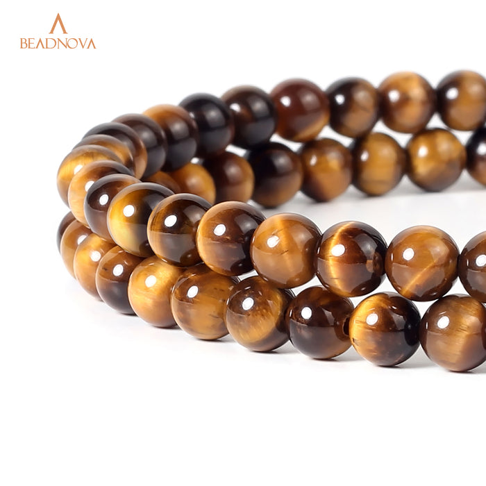 BEADNOVA 4mm Yellow Tiger Eye Gemstone Round Loose Beads for Jewelry Making (94-96pcs)