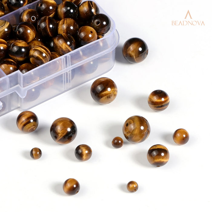 BEADNOVA 4-10mm Yellow Tiger Eye Round Beads for Jewelry Making (340pcs)