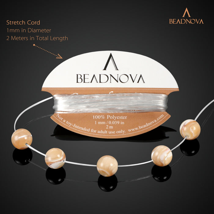 BEADNOVA 8mm Natural Mother Of Pearl Nacre Conch Shell Gemstone Round Loose Beads for Jewelry Making (45-48pcs)