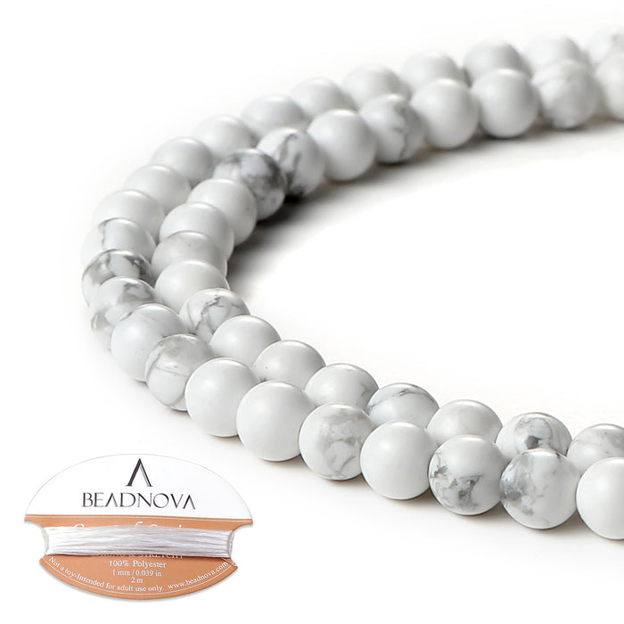 BEADNOVA 4mm Natural White Howlite Gemstone Round Loose Beads for Jewelry Making (94-96pcs)
