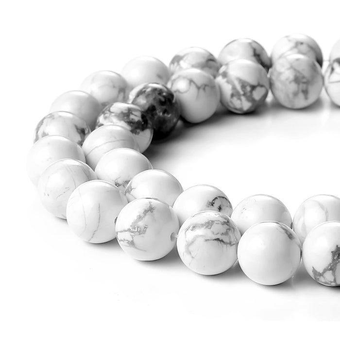 BEADNOVA 10mm Natural White Howlite Gemstone Round Loose Beads for Jewelry Making (38-40pcs)