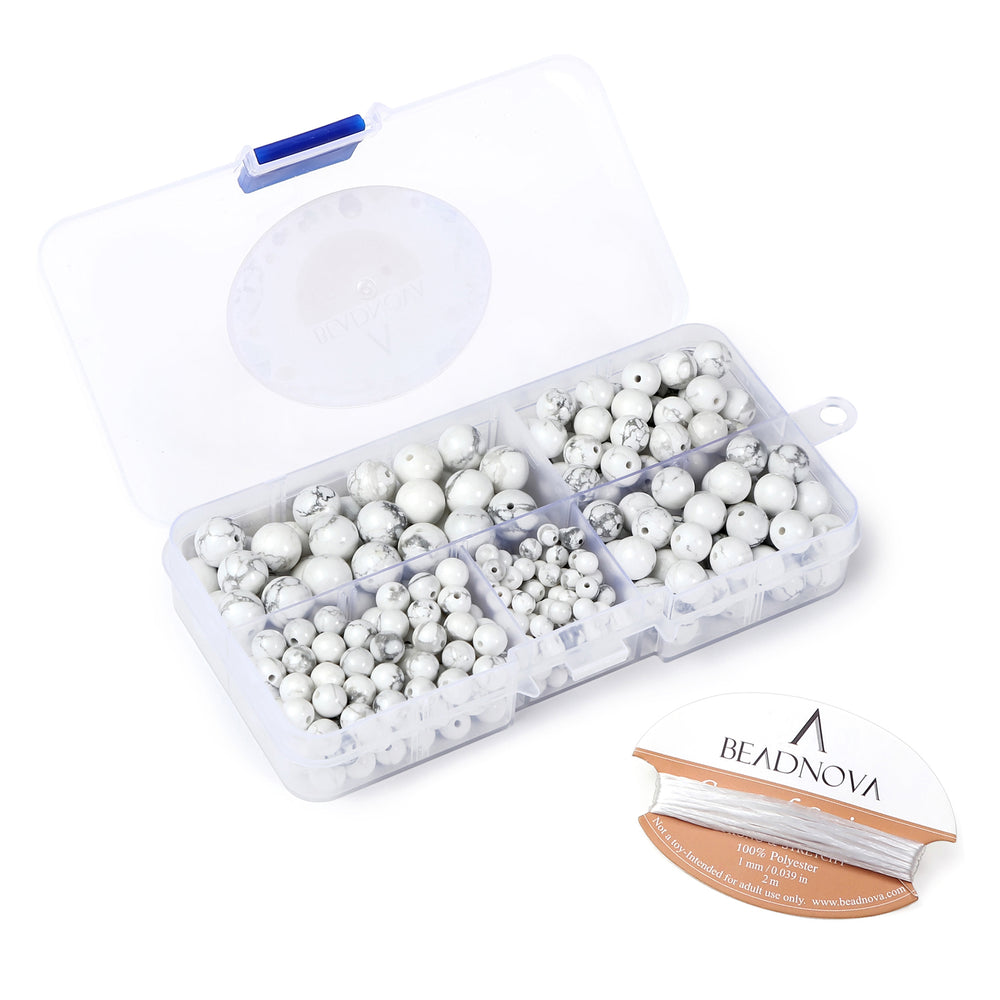 BEADNOVA 4-10mm Natural White Howlite Round Beads for Jewelry Making (340pcs)