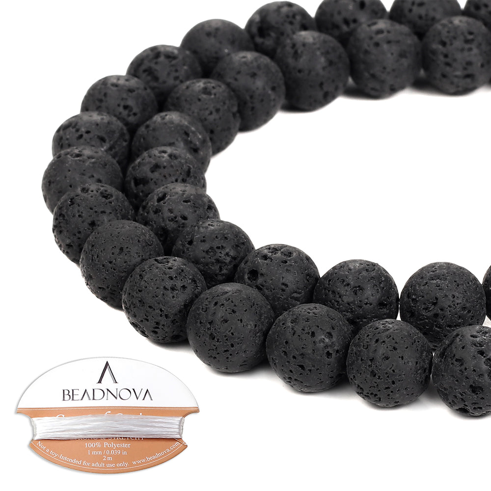 BEADNOVA 10mm Natural Black Lava Rock Stone Gemstone Round Loose Volcanic Beads with Free Crystal Stretch Cord For Jewelry Making (32-34pcs)