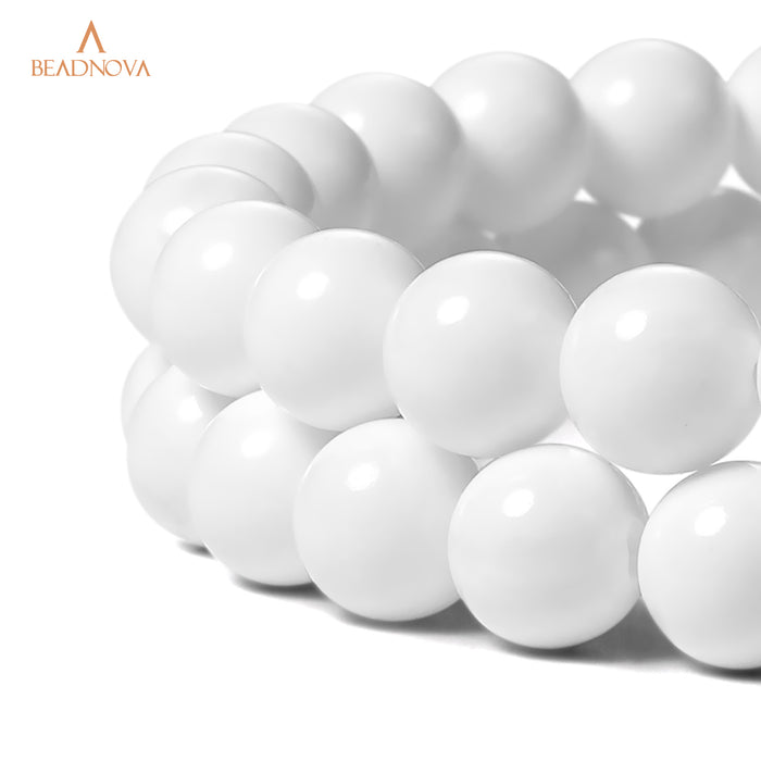 BEADNOVA 10mm White Tridacna Stone Shell Gemstone Round Loose Beads for Jewelry Making (38-40pcs)