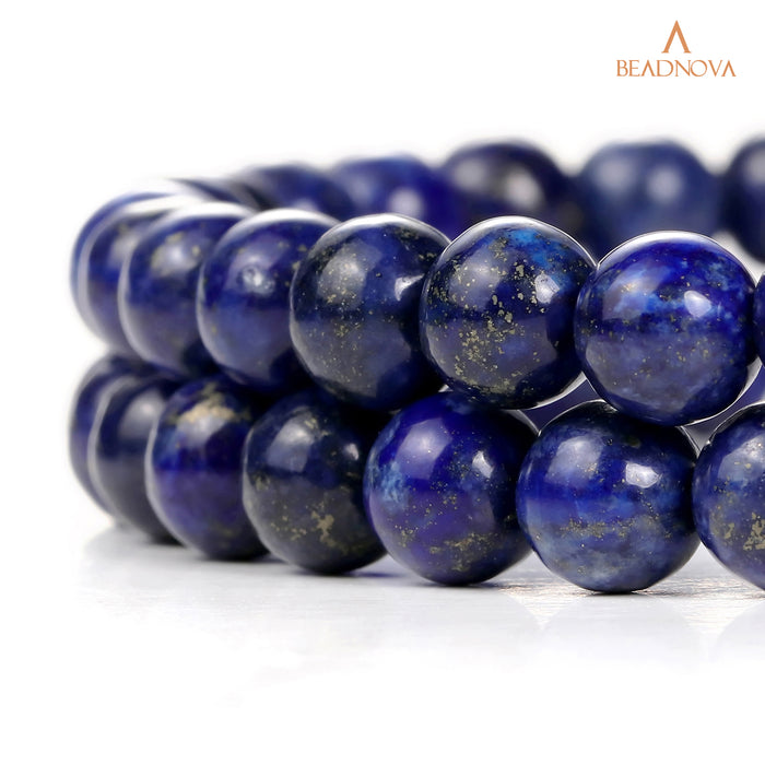 BEADNOVA 8mm Blue Lapis Lazuli Gemstone Round Loose Beads for Jewelry Making (45-48pcs)