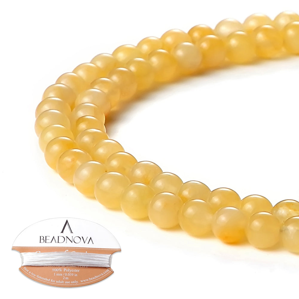 BEADNOVA 4mm Natural Yellow Jade Gemstone Round Loose Beads for Jewelry Making (94-96pcs)